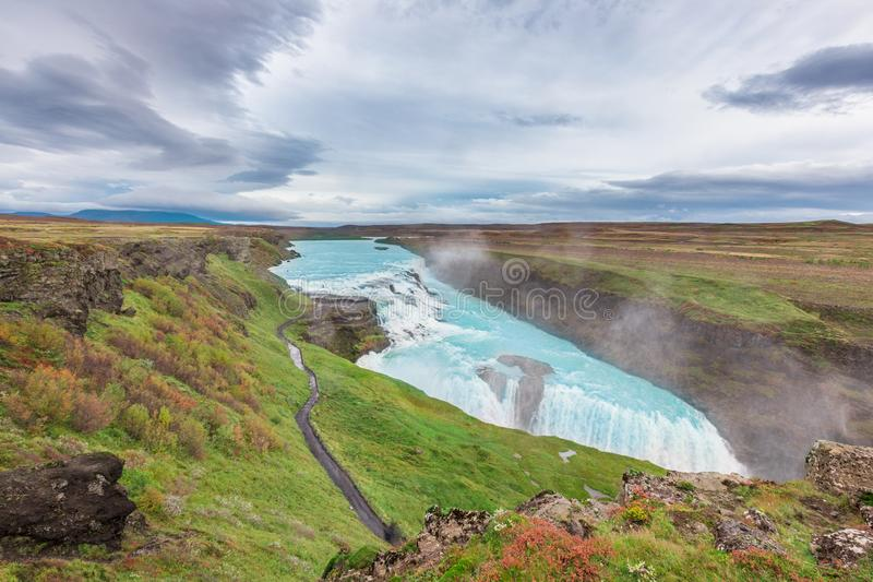 Gullfoss waterfall view in the canyon of the Hvita river royalty free stock photos