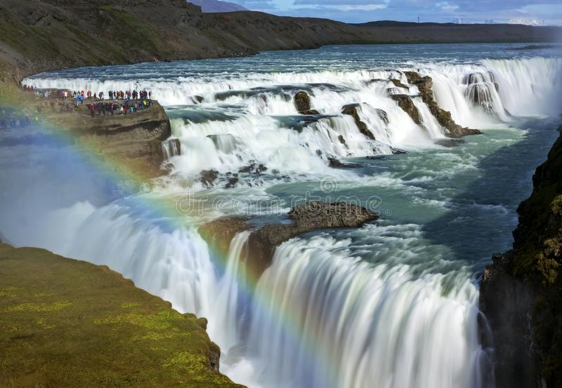 Gullfoss waterfall view in the canyon of the Hvita river stock photo