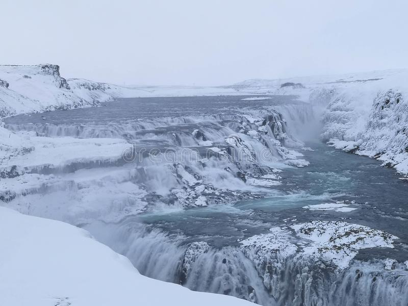 Gullfoss waterfall in winter. Iceland royalty free stock photos