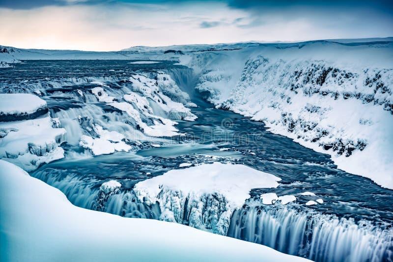 gullfossiceland vattenfall royaltyfri foto