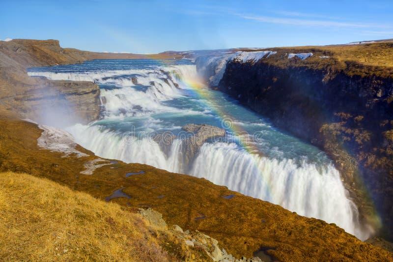 gullfossvattenfall fotografering för bildbyråer