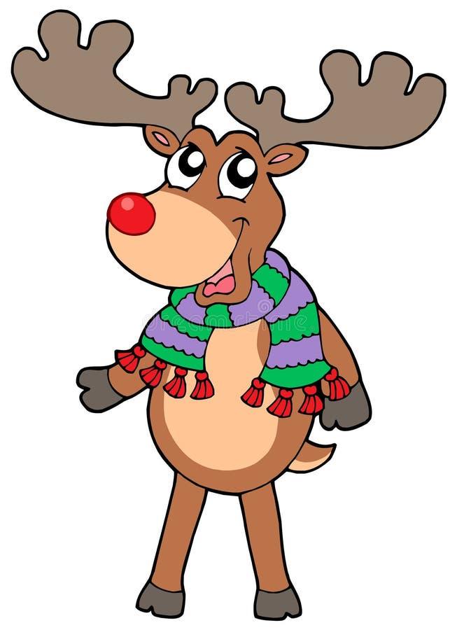 gullig älgstanding för jul stock illustrationer