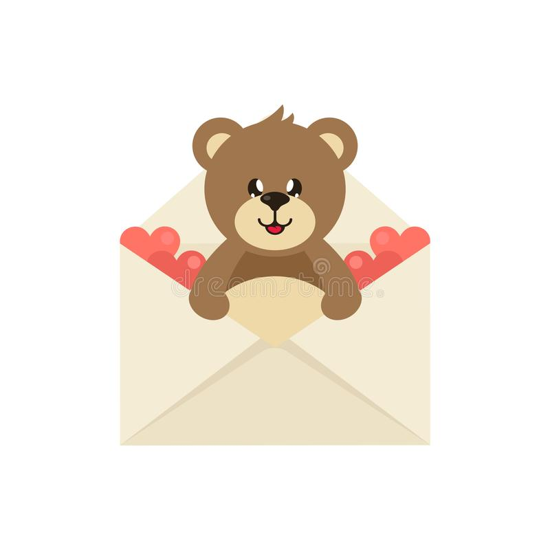 Gullig älskvärd björn för tecknad film i ett kuvert vektor illustrationer