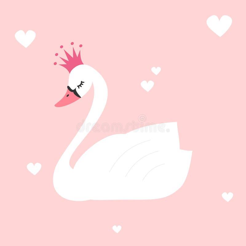 Gullig älskvärd prinsessasvan på rosa bakgrundsillustration stock illustrationer