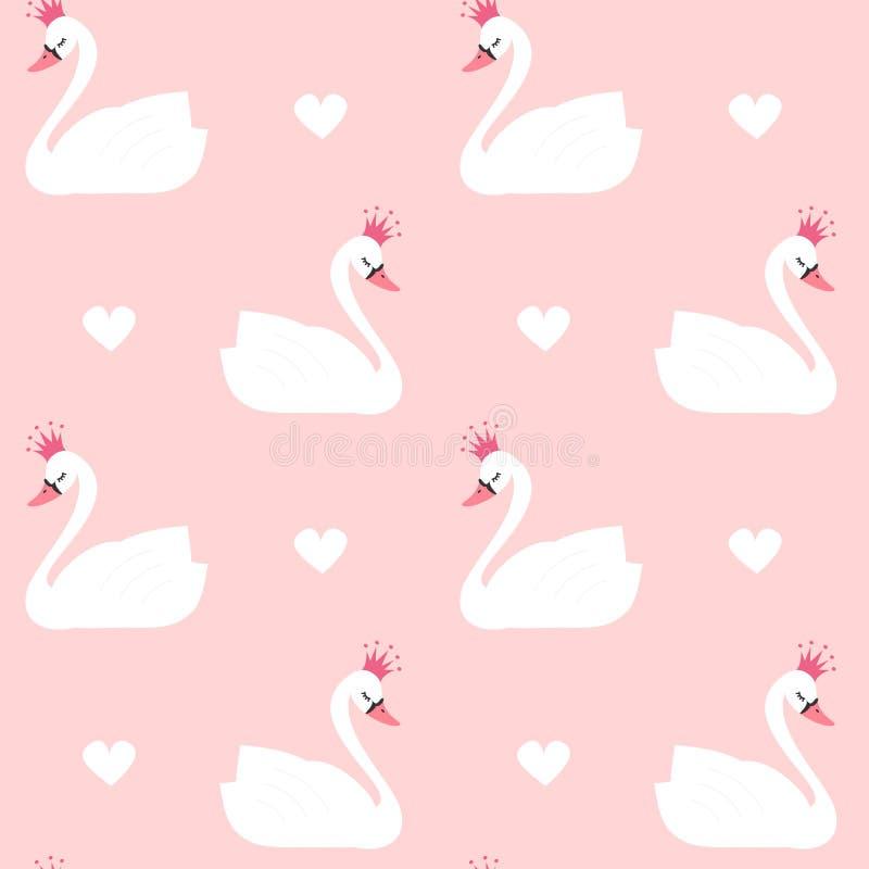 Gullig älskvärd prinsessasvan på sömlös modellillustration för rosa bakgrund royaltyfri illustrationer