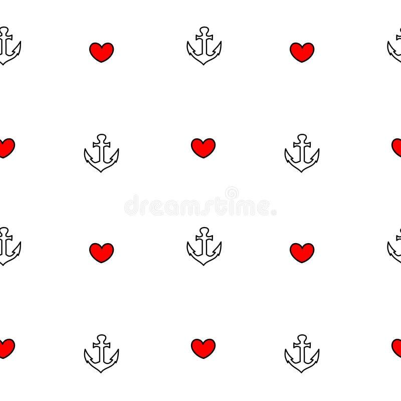 Gullig älskvärd svart vit röd sömlös modellbakgrundsillustration med ankaret och hjärta stock illustrationer