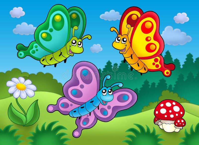 gullig äng tre för fjärilar royaltyfri illustrationer