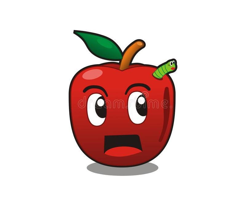 gullig äppletecknad film stock illustrationer