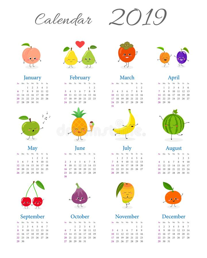 Gullig årlig fruktkalender 2019 stock illustrationer