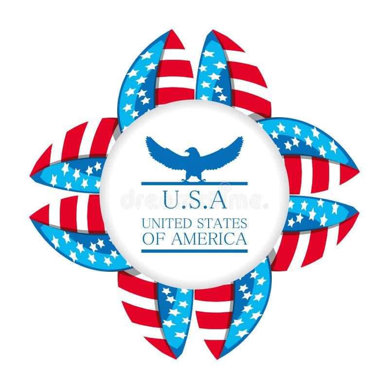 Gullig örn med det amerikanska symbolemblemet stock illustrationer