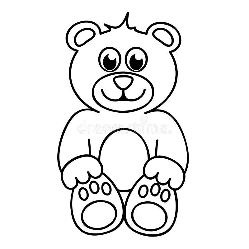 Gullig översikt för pictogram för symbol för nallebjörn enkel stock illustrationer