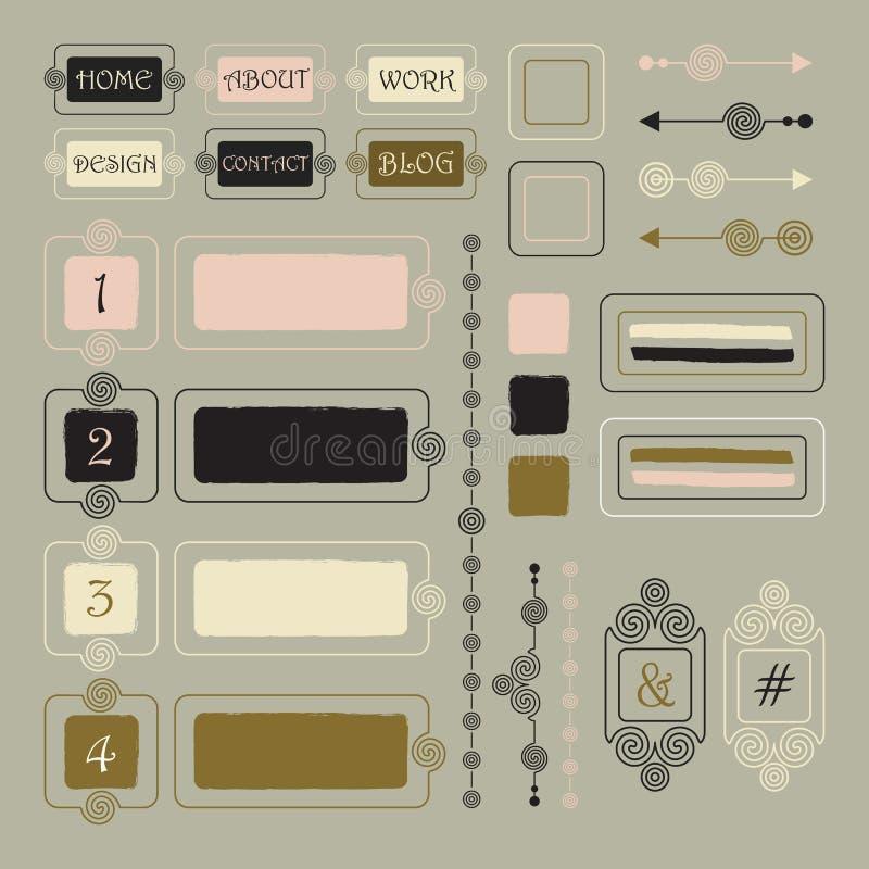 Gullig översiktsspiralwebbplats, portfölj och bloggdesignbeståndsdelar stock illustrationer