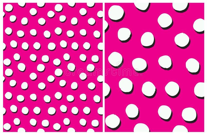 Gullig abstrakt geometrisk sömlös vektormodelluppsättning Ojämn polka Dots Repeatable Design royaltyfri illustrationer