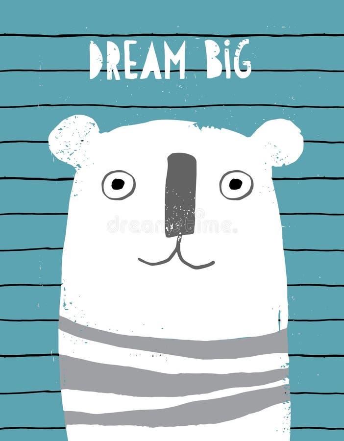 Gullig abstrakt hand drog vita Teddy Bear Vector Illustration Barn- stildesign för Grunge royaltyfri illustrationer