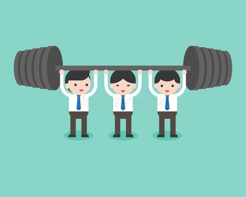 Gullig affärsmanlaghjälp varje andra för att lyfta för vikt, busin royaltyfri illustrationer