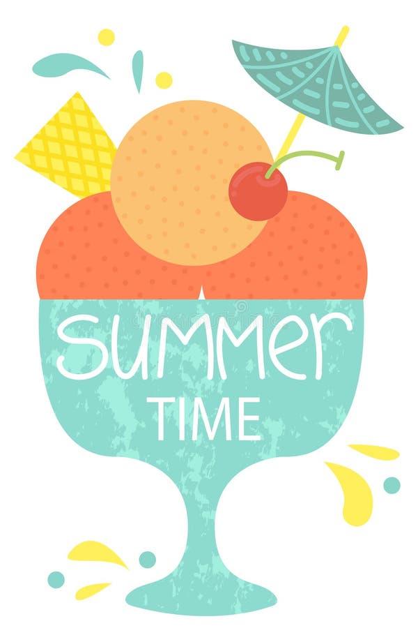 Gullig affisch av sommartid Vektordesignbegrepp för sommar kräm- is för bunke stock illustrationer
