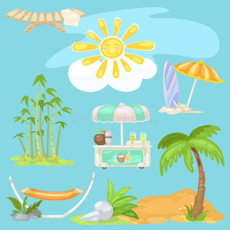 Gullig affisch på tema av loppet Ljus sol på stranden, sunbed, palmträd på den sandiga stranden, kylare av kokosnötcoctailar vektor illustrationer