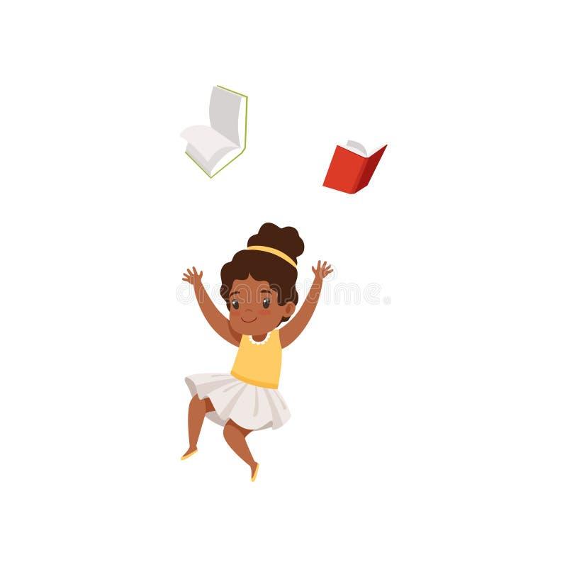 Gullig afrikansk amerikanflicka som har gyckel med boken, grundskolastudent som spelar och lär vektorillustrationen på a royaltyfri illustrationer