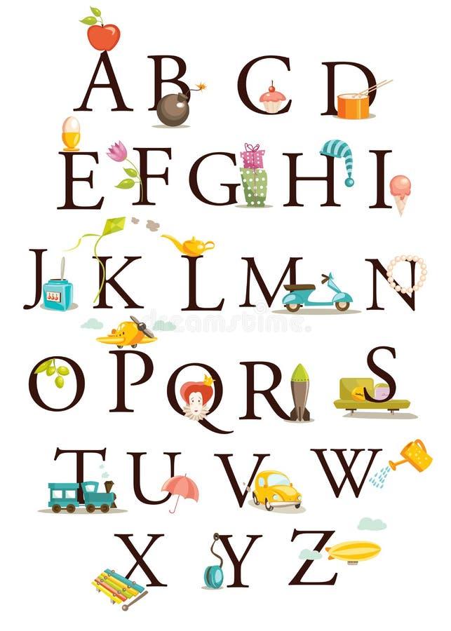 gullig alfabettecknad film stock illustrationer
