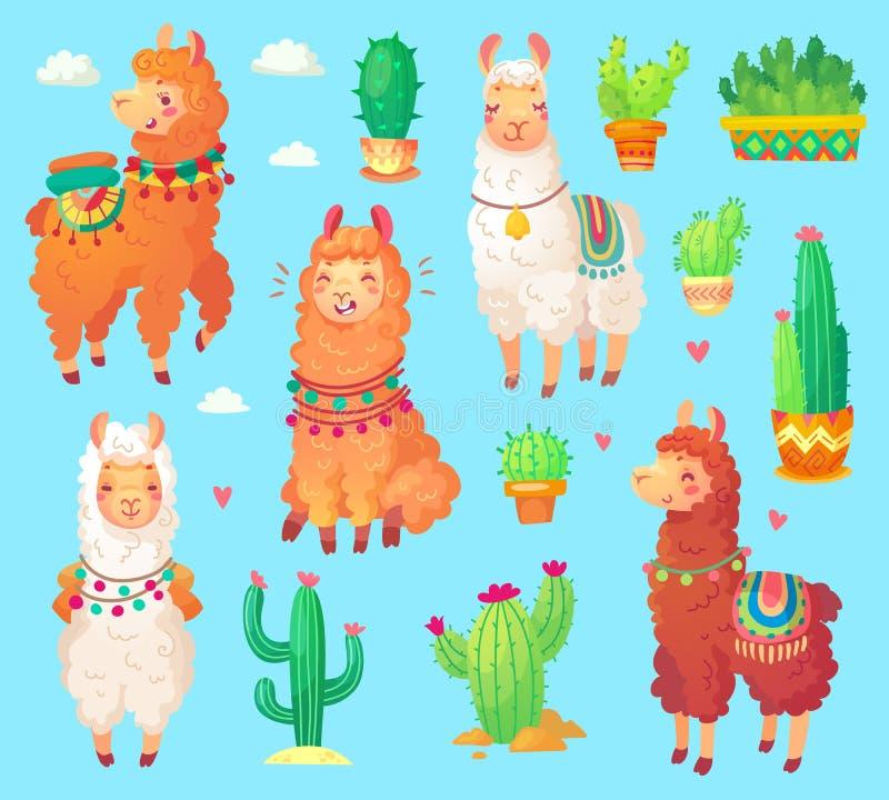 Gullig alpacalama för mexicansk tecknad film med vit ull Peru ökenll vektor illustrationer