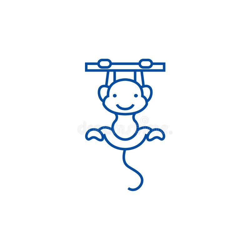 Gullig apalinje symbolsbegrepp Plant vektorsymbol för gullig apa, tecken, översiktsillustration vektor illustrationer
