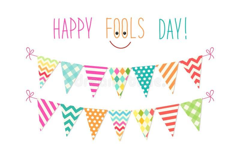 Gullig April Fools Day bakgrund som festlig färgrik bunting sjunker royaltyfri illustrationer