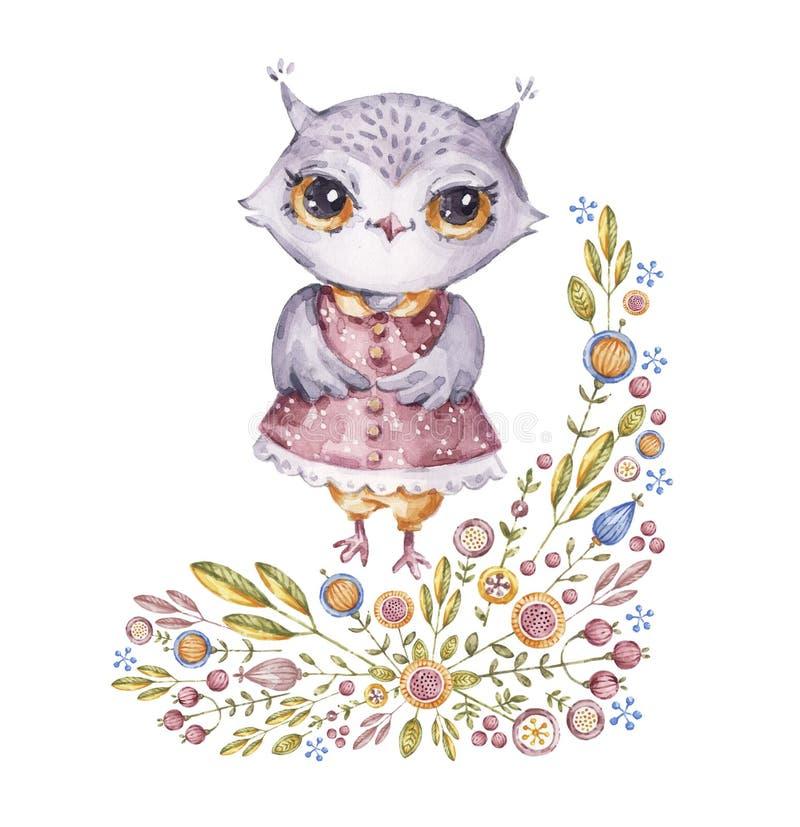 Gullig aquarelleuggla i barnslig stil royaltyfri illustrationer