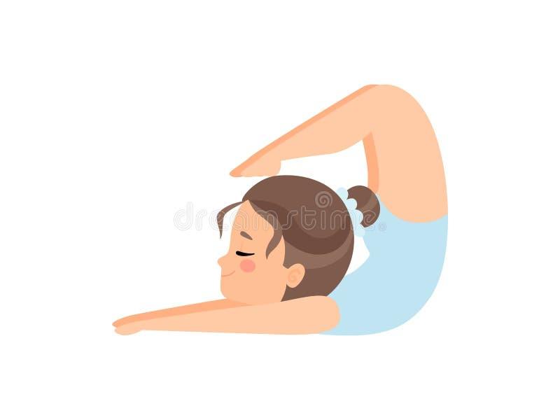 Gullig b?jlig liten ballerina som g?r ?vningen, utbildning f?r flickagymnasttecken i ljust - bl? bodyvektorillustration vektor illustrationer
