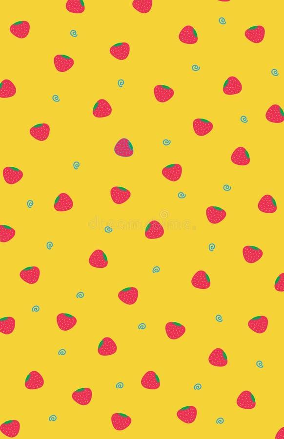 Gullig bakgrund för jordgubbefrukt för sommar stock illustrationer