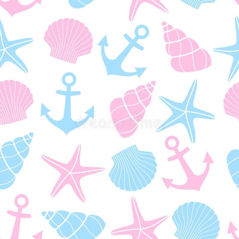 Gullig bakgrund för marin- liv Nautisk sömlös modell med sjöstjärnan, skal, ankare på vit bakgrund stock illustrationer