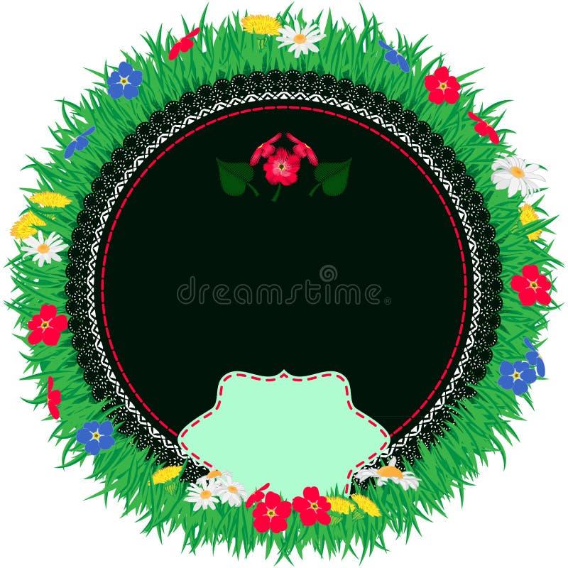 Gullig bakgrund för sommar med den broderade servetten Ram med blommagräs och karaktärsteckning vektor illustrationer