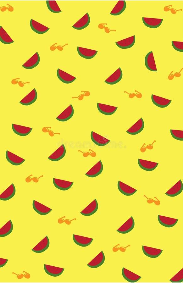 Gullig bakgrund för vattenmelonfrukt med solglasögon för strand stock illustrationer