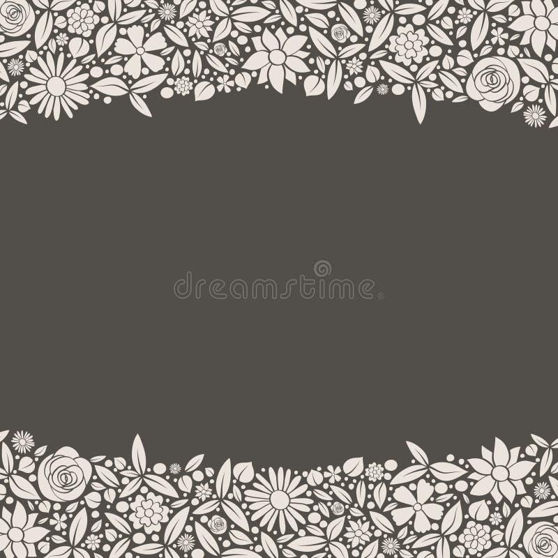Gullig bakgrund med färgglad hand dragen blommor och copyspace royaltyfria bilder