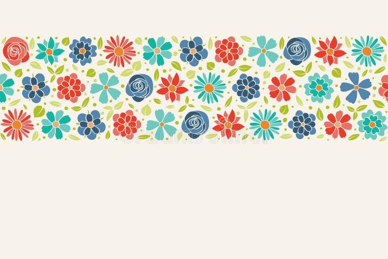 Gullig bakgrund med färgglad hand dragen blommor och copyspace Fjädra, moderdagen för ` s för dagen, för kvinnan för ` s och föde arkivfoton
