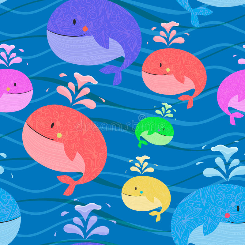 Gullig bakgrund med tecknad film colorized val stock illustrationer