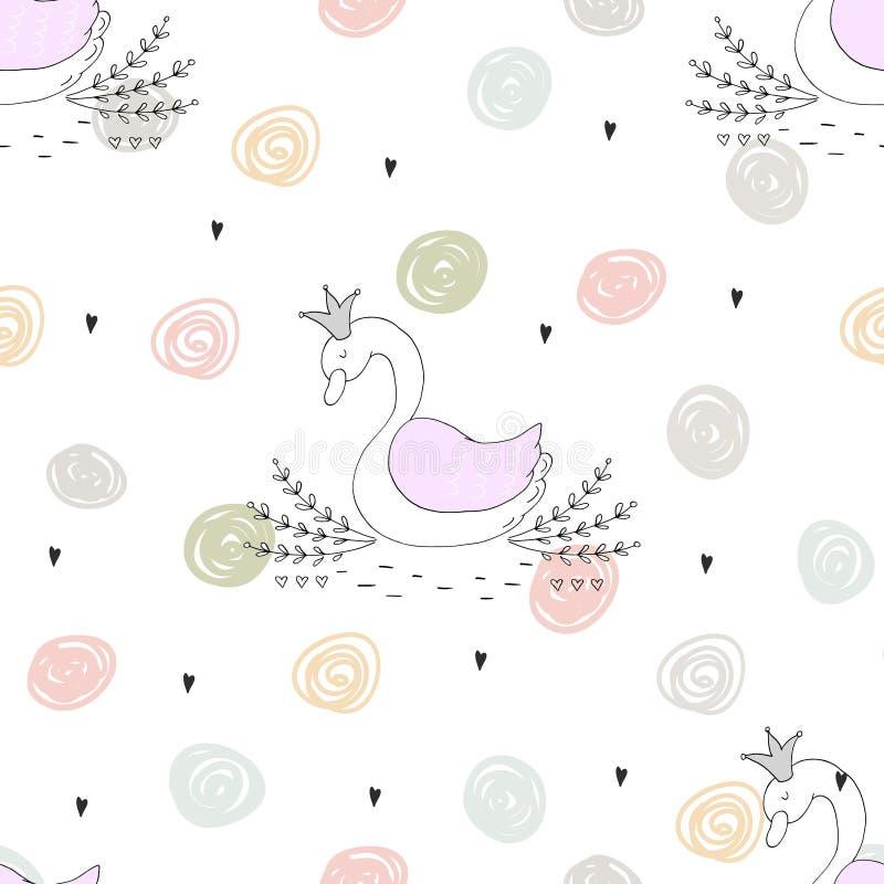 Gullig bakgrund med tecknad filmval Baby showerdesign vektor illustrationer