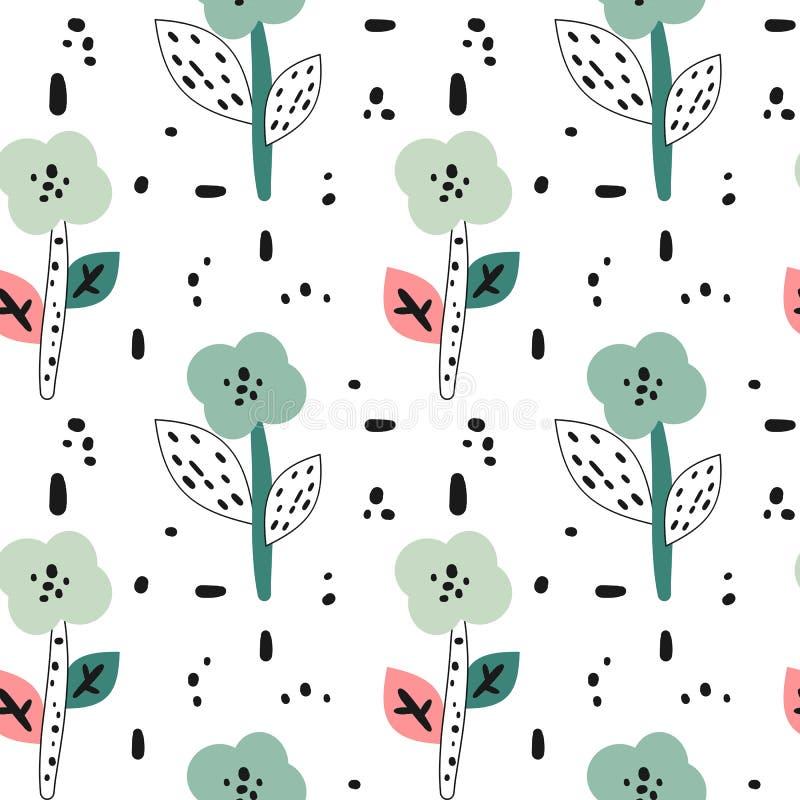 Gullig bakgrund med utdragna blommor f?r abstrakt hand, sidor och svarta former royaltyfri illustrationer