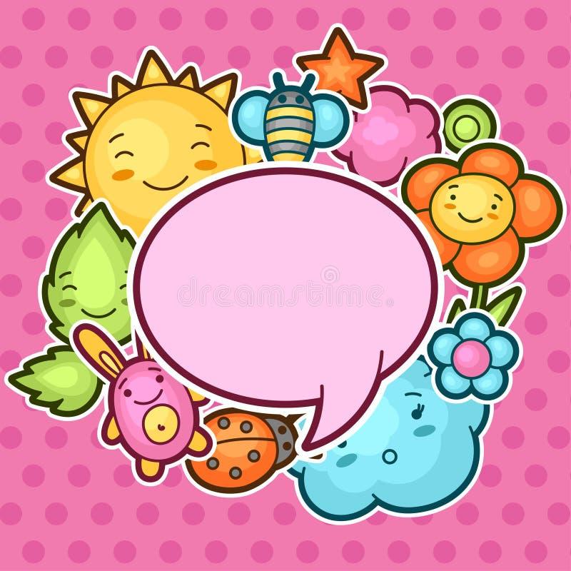 Gullig barnbakgrund med kawaiiklotter Fjädra samlingen av den gladlynta solen för tecknad filmtecken, fördunkla, blomma, sprick u royaltyfri illustrationer