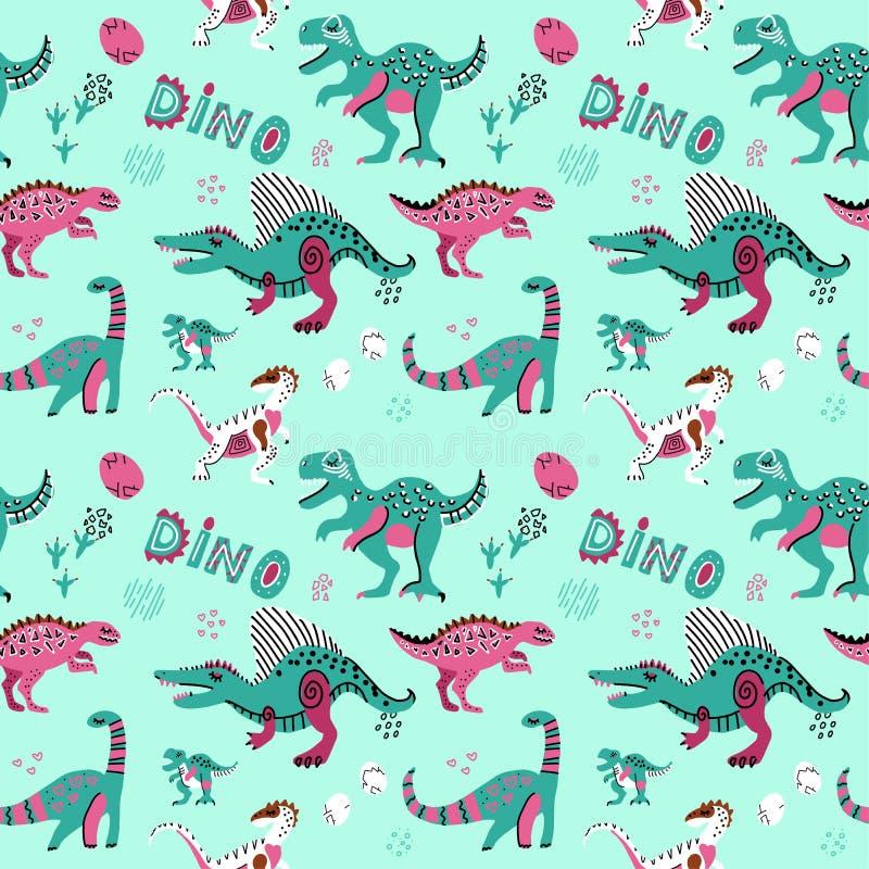Gullig barnslig sömlös vektormodell med dinosaurswithägg, dekoren och ord dino Rolig tecknad film dino Hand dragen klotterdesign stock illustrationer