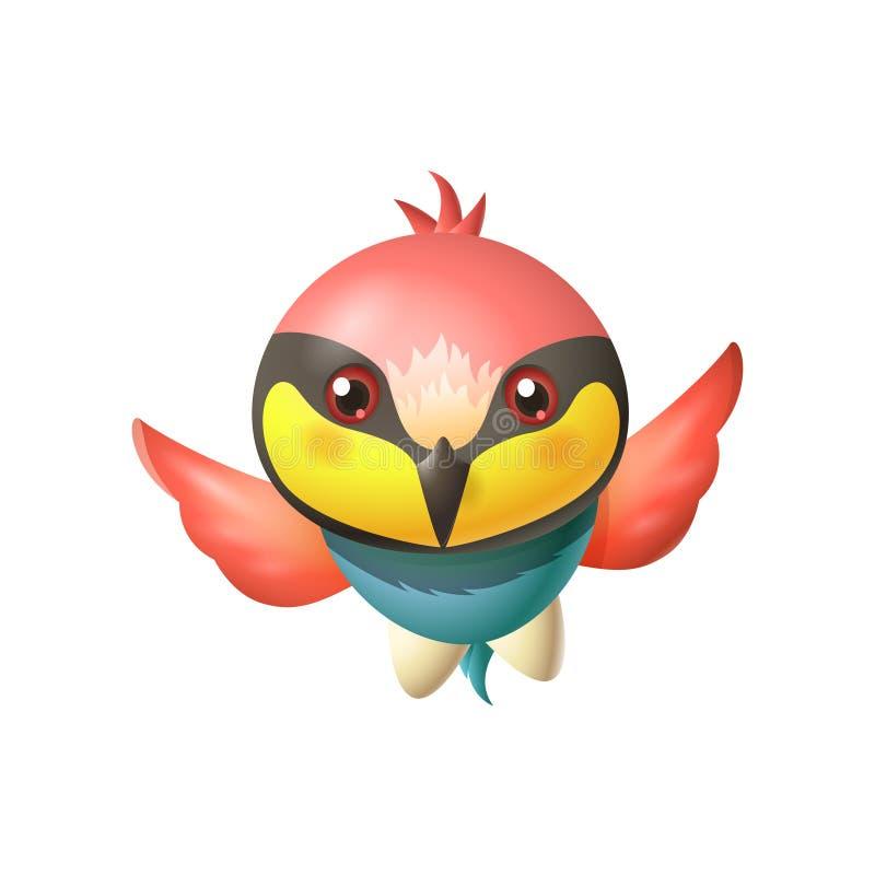 Gullig bi-ätare fågel - ljust kulör fågel med det stora huvudet och den långa skarpa näbb - vektortecknad filmillustration stock illustrationer