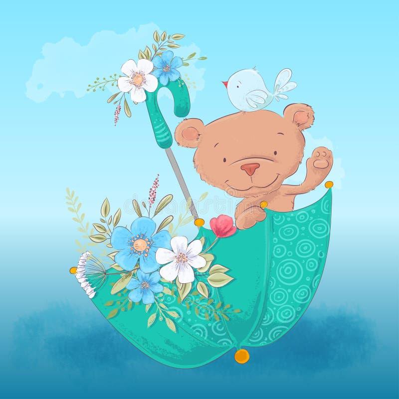 Gullig bj?rn f?r vykortaffisch och en f?gel i ett paraply med blommor i tecknad filmstil teckningen hand henne morgonunderkl?der  royaltyfri illustrationer