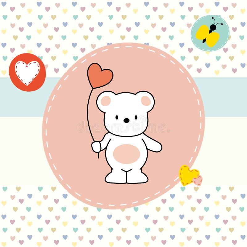 Gullig björn, hälsningkort stock illustrationer