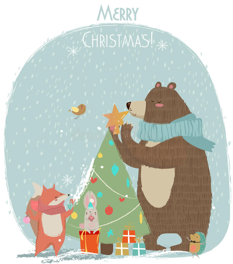 Gullig björn, hare och räv - julkort vektor illustrationer
