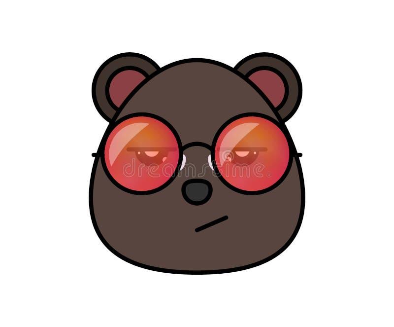 Gullig björn i hipstersolglasögon Djur tecknad filmvektorillustrtation vektor illustrationer