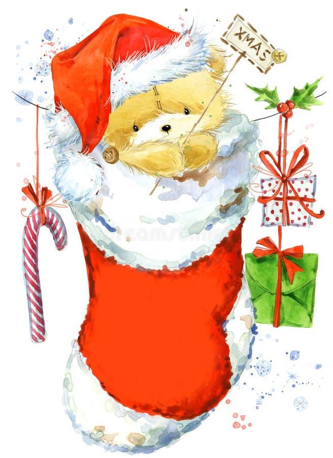 gullig björn Julkort med den gulliga nallebjörnen VattenfärgTeddy Bear illustration Bakgrund för inbjudankort för nytt år royaltyfri illustrationer