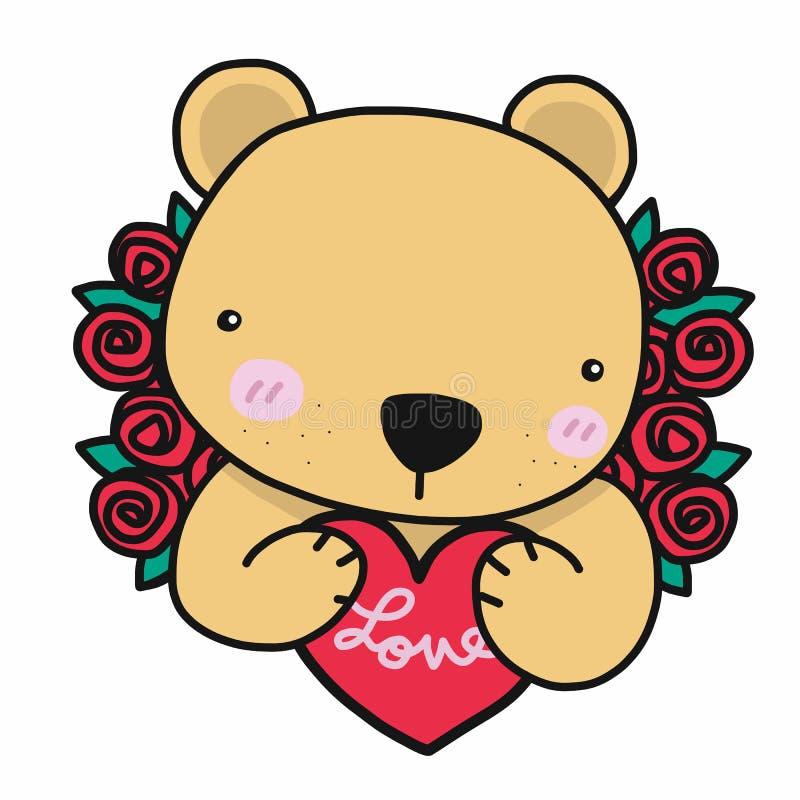 Gullig björn med röd hjärta för förälskelse och illustrationen för rostecknad filmvektor stock illustrationer