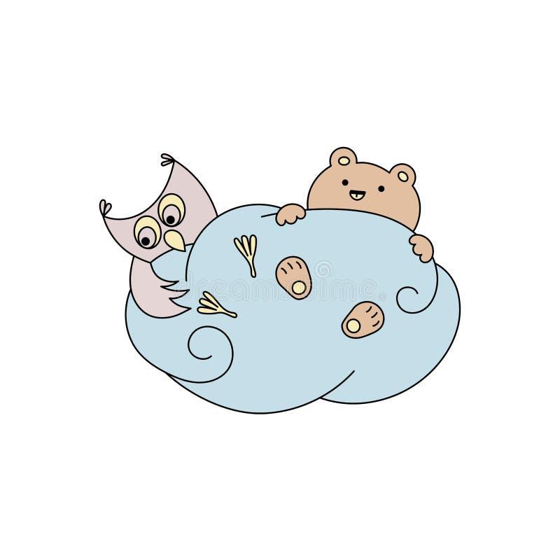 Gullig björn och uggla på ett moln stock illustrationer