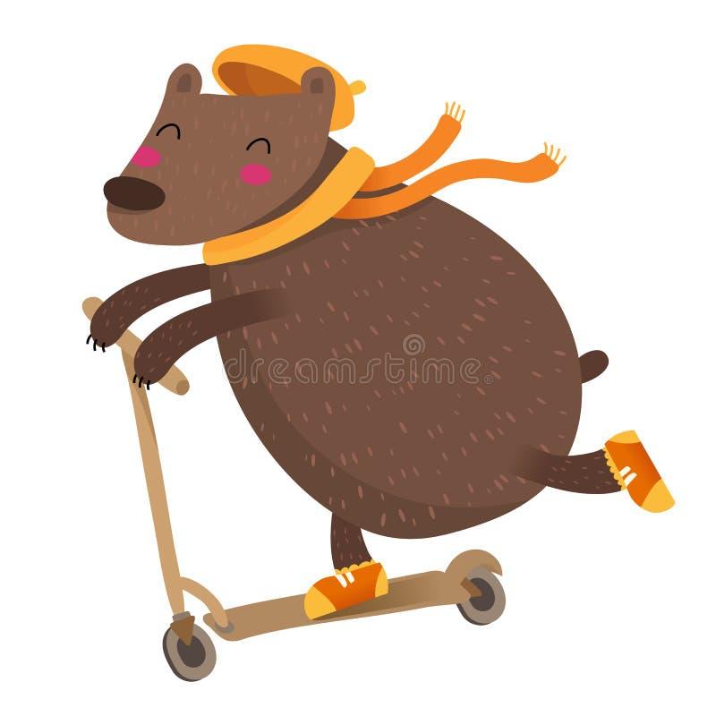 Gullig björn som rider en sparkcykel, på vit royaltyfri illustrationer