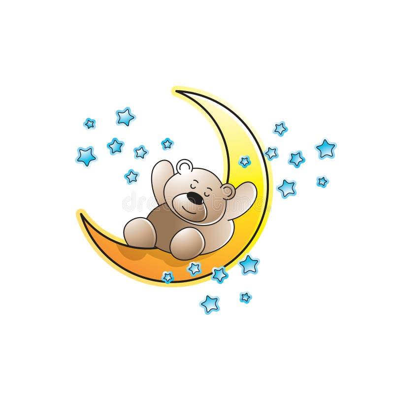 Gullig björn som sover på halvmånformig och stjärnor royaltyfri illustrationer