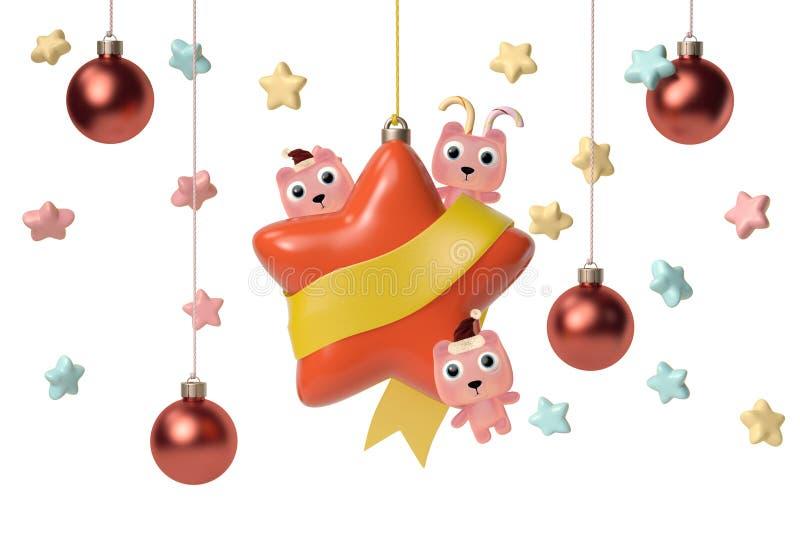 Gullig björn tre med stjärnor, julkort illustration 3d stock illustrationer